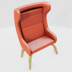 Modern Wingback Chair Orange