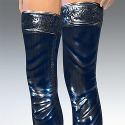 Rubber Latex Stockings Silver Blue  V2