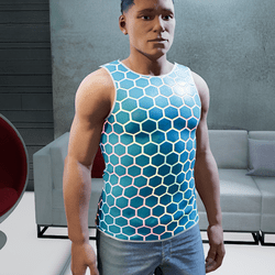 Sleeveless Shirt hexaglow blue