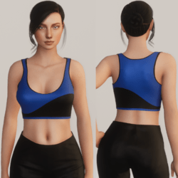 Wavy Half Tank Top - Black and Blue