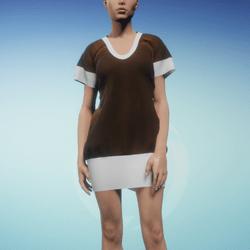 Bibi dress Cinnamon and White