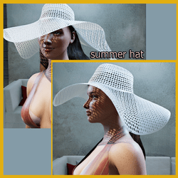 white summer hat whit long hair (made in MD!)