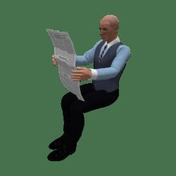 Molinju mit Zeitung