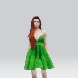 Kawaii Green Laced Mini Summer Dress