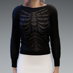 Black Pullover with Gray Skeleton Print