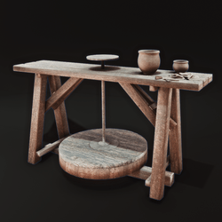 Pottery Bench with Tools and Clutter