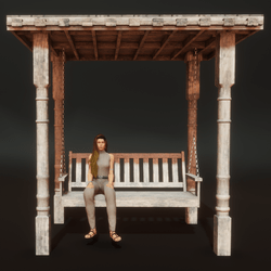 Rustic Victorian Portico and Bench with Sit