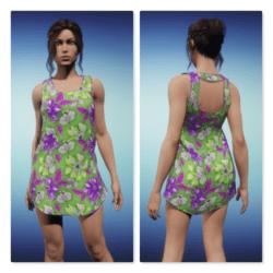 Summer Tank Dress - Tropical Green Purple