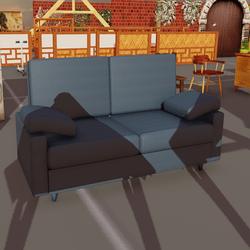 2 Seater Blue Leather Sofa