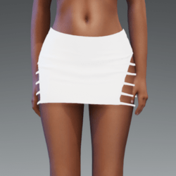 Emissive Version - Tight Fitting Mini Skirt with Cut Out Sides - bright white