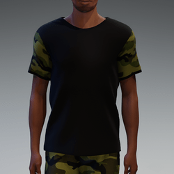 Black T-Shirt with Camouflage Sleeves for Men