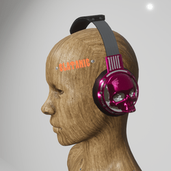 skull headphones (electric pink)