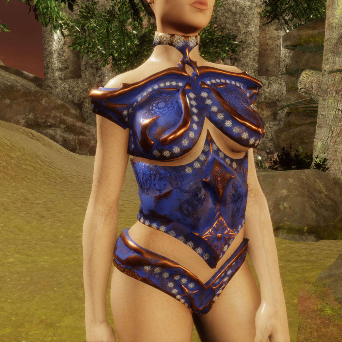 female armor top flowers and copper