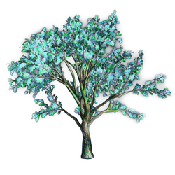 Watercolor Blue Oak Tree